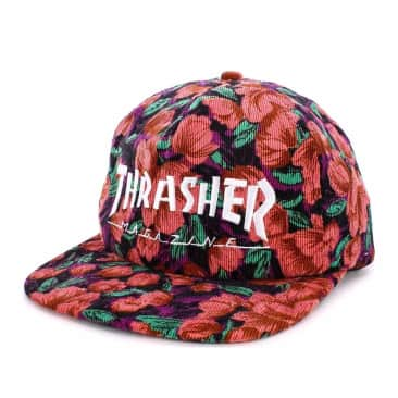 Thrasher Pink Floral Corduroy Snapback Cap - Pink