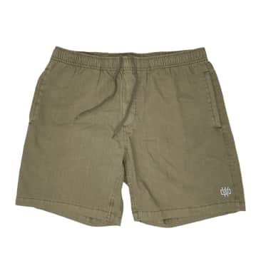 Working Class Monogram Embroidery Beach Short - Army Stone / Silver