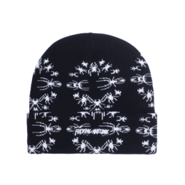 Fucking Awesome Beanie Spider Stamp Black