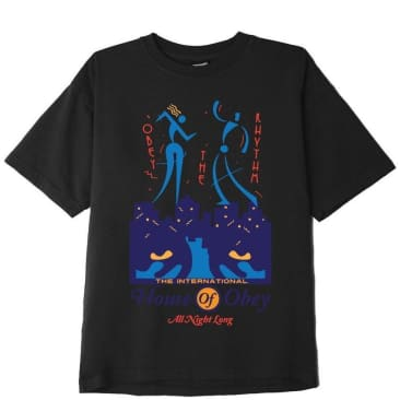 OBEY All Night Long Heavyweight Classic Box T-Shirt - Off Black