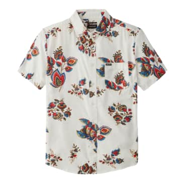 Brixton Charter Print Short Sleeve Woven - Off White/Red