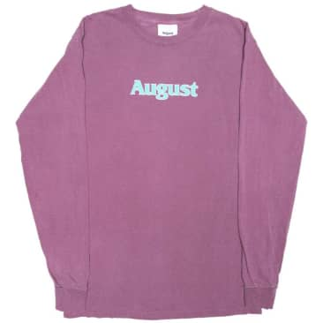 August Puff Print Logo Long Sleeve T-Shirt - Wine / Turquoise