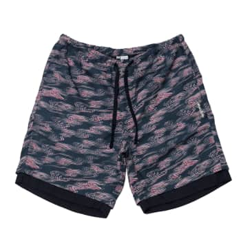 Double Layer Short - Waves Print Navy