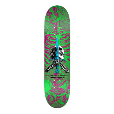 "Powell Peralta Skull and Sword Skateboard Deck Pink/Green - Shape 247 - 8""x 31.45"""
