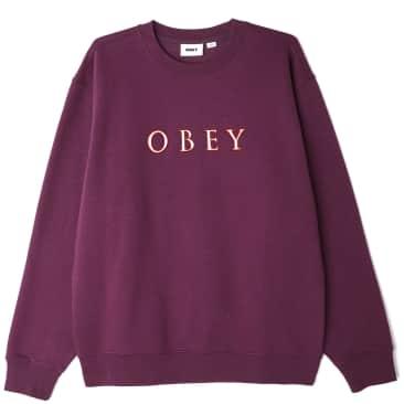 OBEY Curtis Crew Sweatshirt - Blackberry Wine