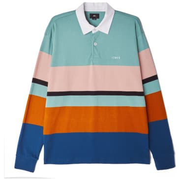 OBEY Benny Long Sleeve Polo - Oil Blue Multi