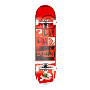 Cliche Letter Press Red Complete Skateboard - 8.00
