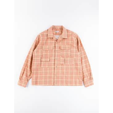 Engineered Garments Bowling Shirt Beige Cotton Printed Tattersall