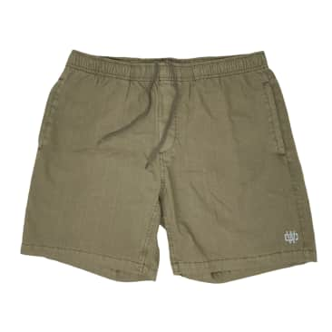 WORKING CLASS MONOGRAM EMBROIDERY BEACH SHORT - ARMY STONE/SILVER