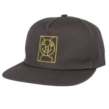 Krooked Adjustable Moon Smile Snapback Hat (Grey/Yellow)