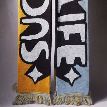 "Kid Acne ""Such Is Life"" Limited Edition Scarf - Mustard Yellow/Dusty Blue"