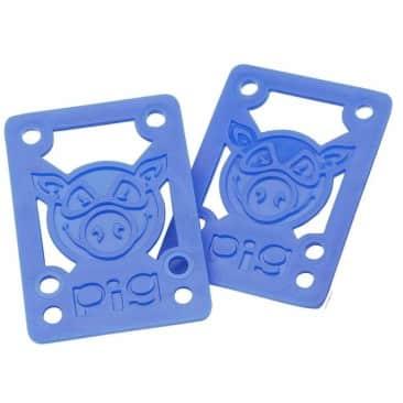 "Pig Wheels Hard Skateboard Riser Pads 1/8"" - Blue"