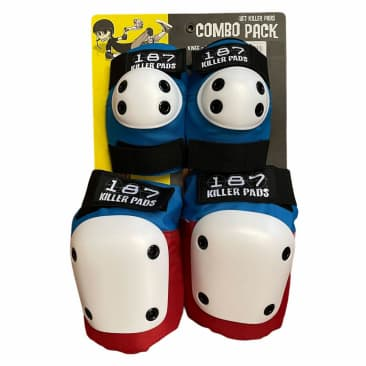 187 Knee Elbow Pads Combo Pack Red White Blue