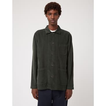 Universal Works Bakers Overshirt (Fine Corduroy) - Forest Green