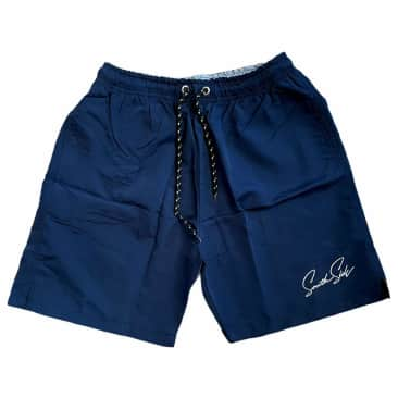 Southside Script Water Short Embroidered Navy