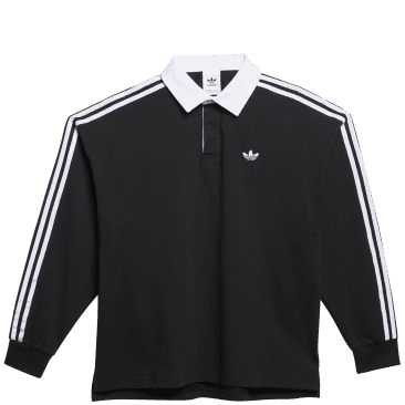 adidas Skateboarding Solid Rugby Jersey - Black / White