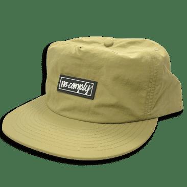No-Comply Script Box PVC Patch Nylon Hat - Khaki