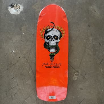 "Powell Peralta - OG 1984 Mike McGill - Skull and Snake - Fluorescent Orange - 10"" Skateboard Deck"