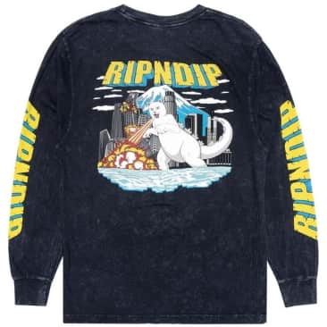 Ripndip Nermzilla Long Sleeve T-Shirt - Black Mineral Wash