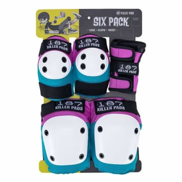 187 Six Pack Pads Pink / Teal (Knee/Elbow/Wrist)