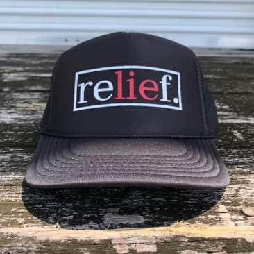 """RELIEF """"LIE"""" TRUCKER HAT BLACK"""