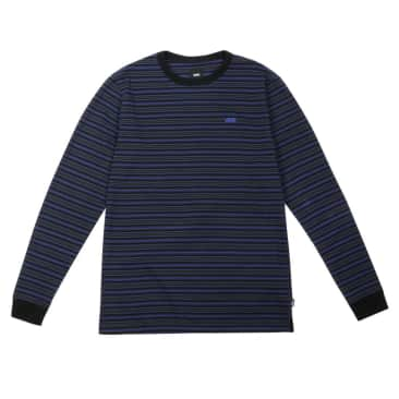 Micro Stripe Long Sleeve - Black/Spectrum Blue