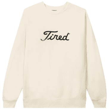 Tired Embroidered Gold Logo Crew Neck - Cream