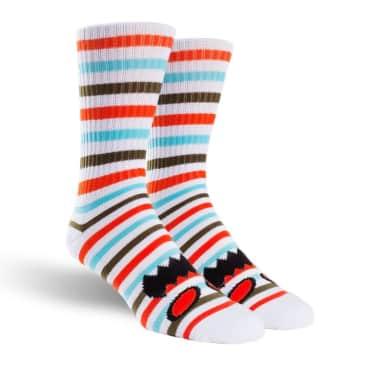 Toy Machine Monster Face Mini Stripes Sock Coral