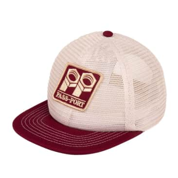 Pass~Port Bolt Trucker Cap - Cream / Maroon