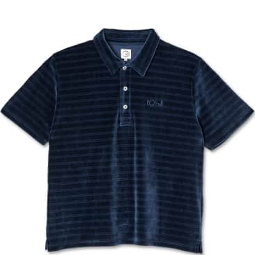 Polar Skate Co Stripe Velour Polo Shirt - Navy
