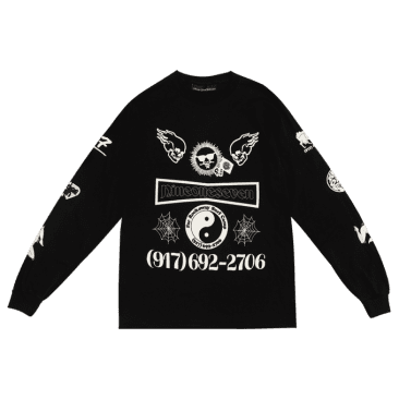 Call Me 917 Collage Long Sleeve T-Shirt Black