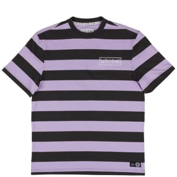 Welcome Skateboards Big Beautiful Stripe T-Shirt - Black-Lavender