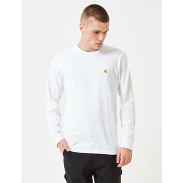 Carhartt-WIP Chase Long Sleeve T-Shirt - White/Gold