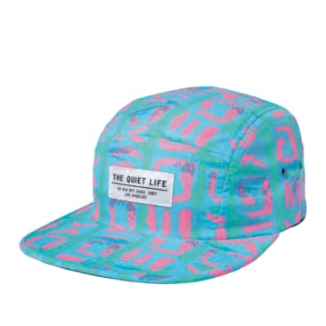 The Quiet Life NeonTribe 5 Panel Camper Hat - Blue / Pink