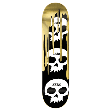 Zero Deck 3 Skull Blood Black White Gold 8.25""