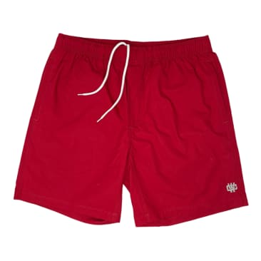 WORKING CLASS MONOGRAM EMBROIDERY BEACH SHORT - CARDINAL/SILVER