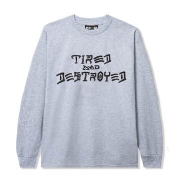 Tired x Thrasher Destroyed Long Sleeve T-Shirt - Heather Grey