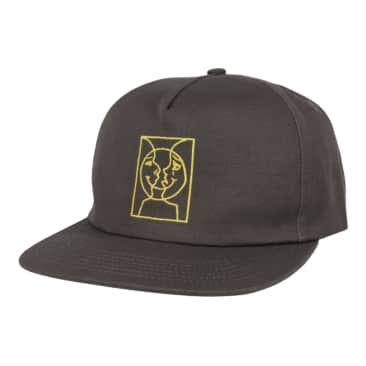 KROOKED Moon Smile Snapback Hat Grey/Yellow