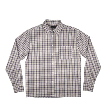 Pass~Port Woven Check Long Sleeve Shirt - Navy