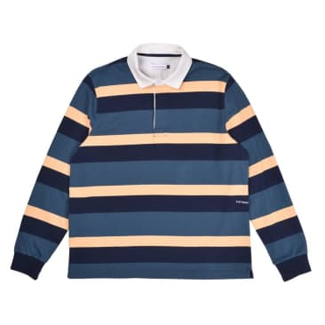 Pop Trading Company Striped Rugby Shirt - Yellow / Green / Blue