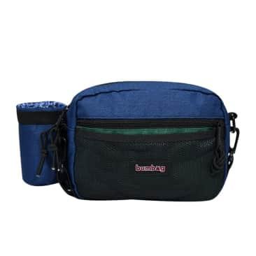 The BumBag Co Louie Lopez Compact XL Shoulder Bag W/ Bottle Holder - Green / Navy
