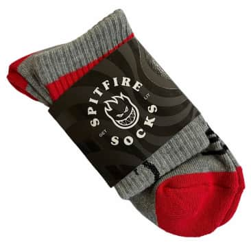 Spitfire Socks Heads Up Grey Red Black