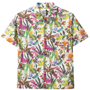 Real Bad Man Psychedelica Vacation Button Down Shirt - Bouquet / Multi