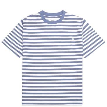 Parlez Heavy Stripe Pocket T-Shirt - Dusty Blue