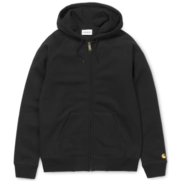 Carhartt WIP Hooded Chase Zip Up Jacket - Black / Gold