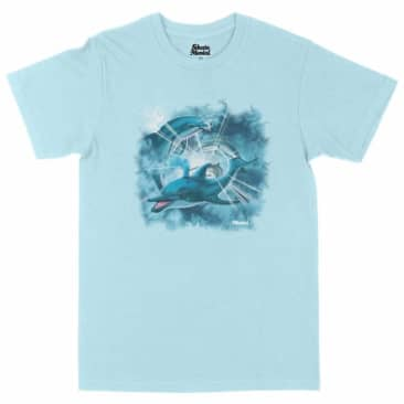 SKATEMENTAL HAPPY DOLPHINS TEE - CHAMBRAY
