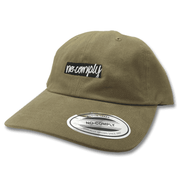 No-Comply Script Box Logo Dad Hat - Light Olive