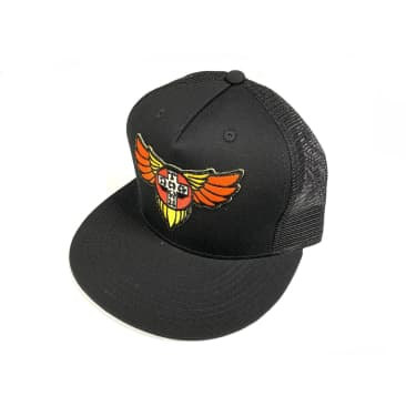 Dogtown Skateboards Cross Wings Patch SnapBack Mesh Hat Black