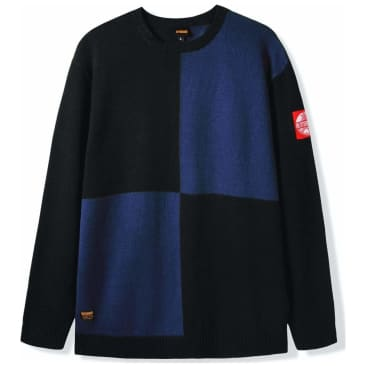 Butter Goods Chess Knitted Sweater - Black / Blue