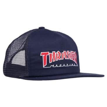 THRASHER EMBROIDERED OUTLINED MESH HAT - NAVY